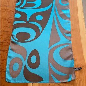Like new 100% silk Whale & Thunderbird scarf